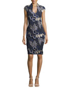 Scoop-Neck Cap-Sleeve Floral-Embroidered Cocktail Dress