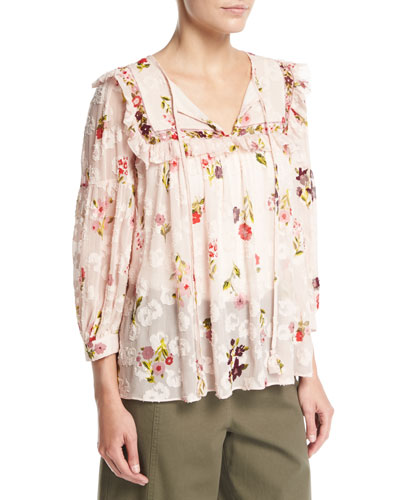 in bloom split-neck floral-print chiffon top