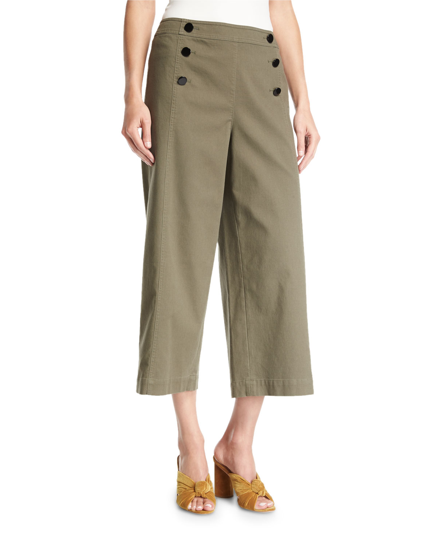 cropped wide-leg military cotton pants