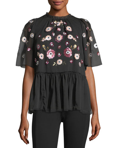 madison high-neck chiffon blouse w/ sequins