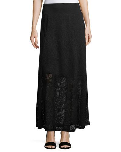 Lace Paneled Maxi Skirt