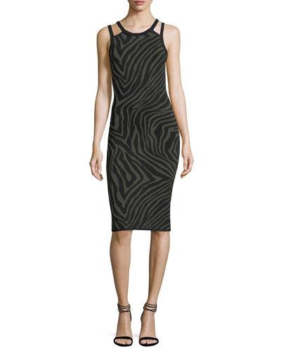 Double-Trim Graphic-Knit Tank Dress