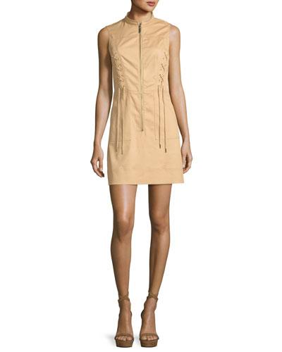 Sleeveless Lace-Up Zip-Front Dress