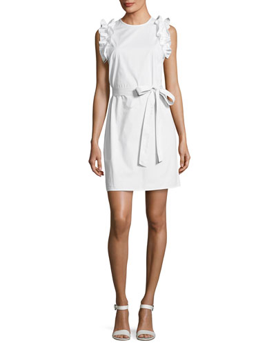Ruffle-Shoulder Belted Dress