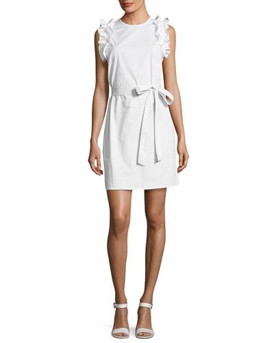 Ruffle-Shoulder Belted Dress