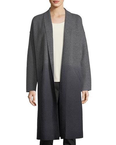 Ombre Boiled Wool Kimono Coat, Petite