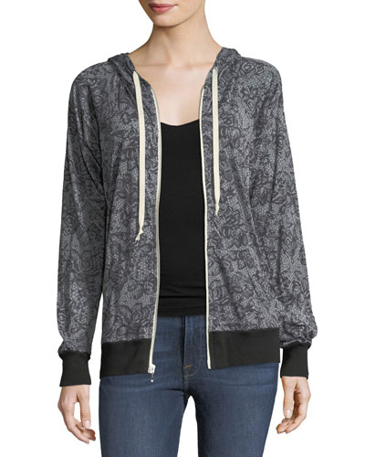 Lace-Print Hooded Jacket