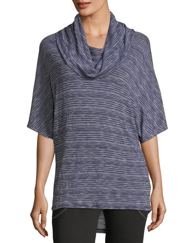 Cowl-Neck Striped Top