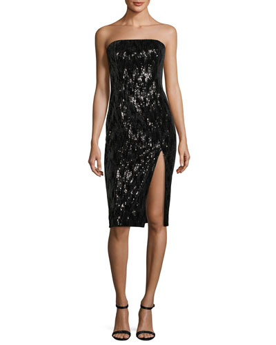 Astor Strapless Bustier High-Slit Sequin Cocktail Dress