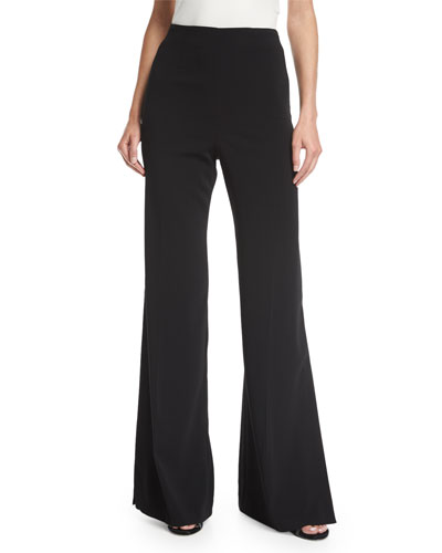 Tilden High-Waist Wide-Leg Side-Slit Crepe Pants