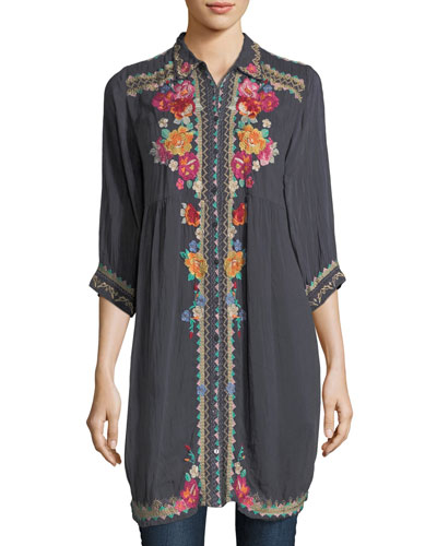 Brisa Button-Front Shirtdress, Plus Size