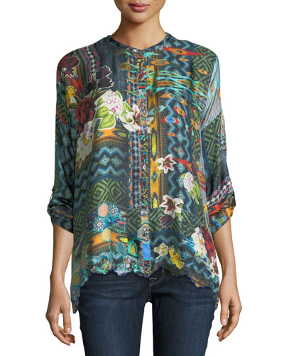 Canvas Printed Silk Twill Tunic, Plus Size