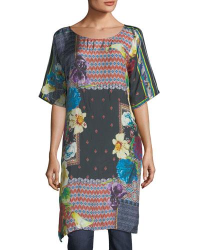 Mabel Long Silk Tunic, Plus Size