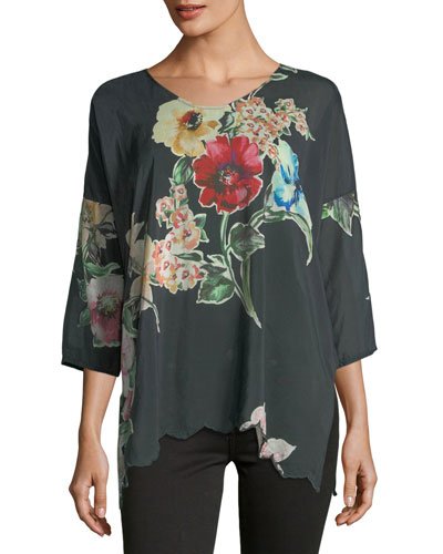 Nina Floral-Print Georgette Top, Plus Size