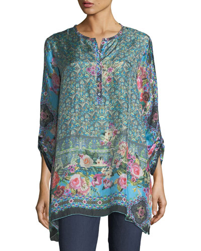 Johnny Was Besimo Silk Embroidered Tunic Plus Size Multi Modesens