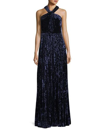 Charla Pleated Velvet Evening Gown