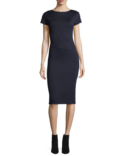 Milano Knit Cap-Sleeve Sheath Dress