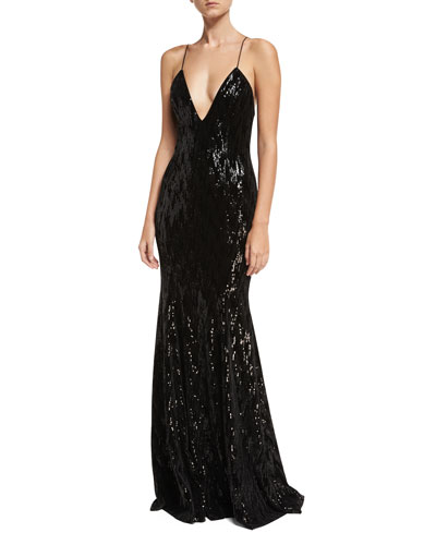 Major Deep V-Neck Sleeveless Velvet Sequin Evening Gown