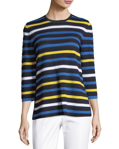 Striped Knit 3/4-Sleeve Pullover Sweater