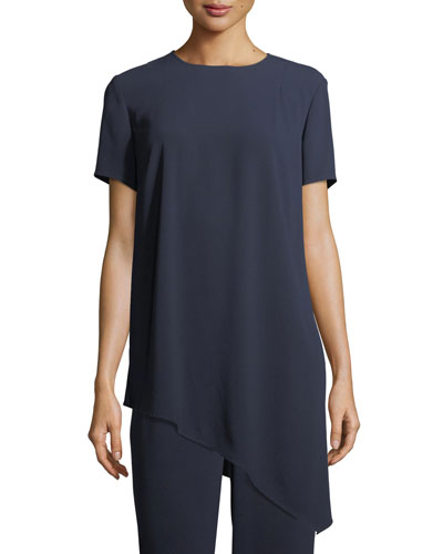 Short-Sleeve Crepe Asymmetric Top