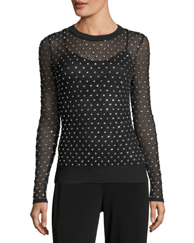 Crystal-Trimmed Mesh Sweater