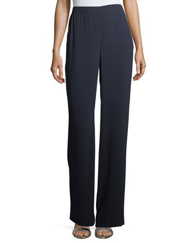 Lightweight Satin-Back Crepe Pants