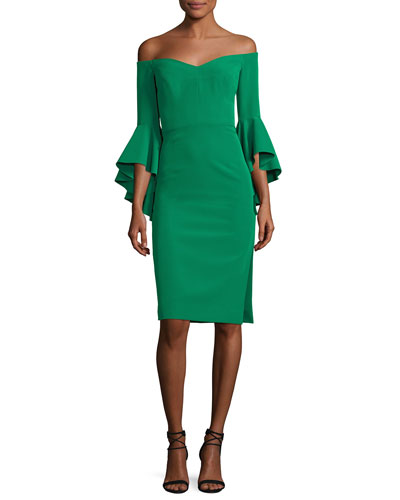 Italian Cady Selena Off-the-Shoulder Flutter-Sleeve Cocktail Dress