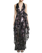 Angie Plunging Floral Metallic Organza Evening Gown