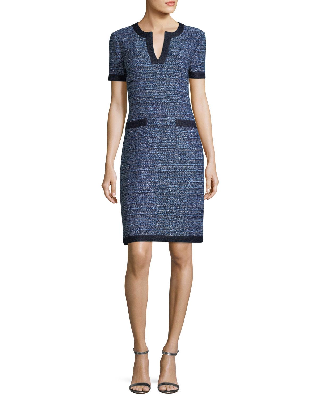 Short-Sleeve Tweed Dress