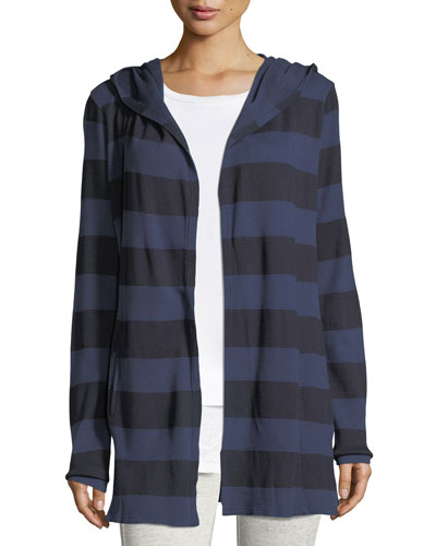 Striped Hooded Open-Front Cardigan