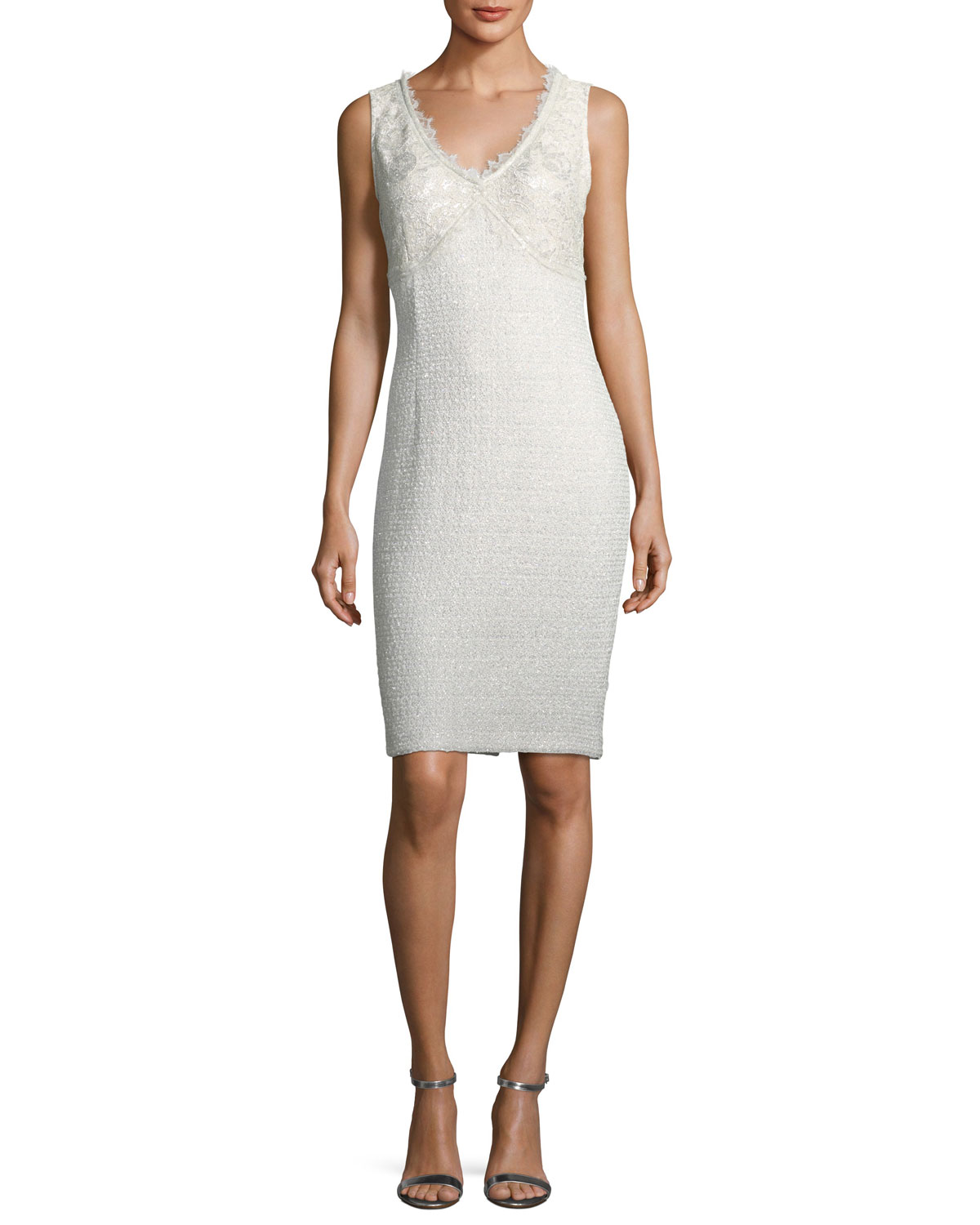 Soft Metallic V-Neck Cocktail Sheath Dress