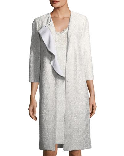 Soft Metallic Knit Long-Line Topper Jacket