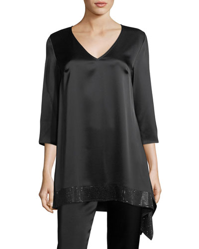 Liquid Satin V-Neck Top