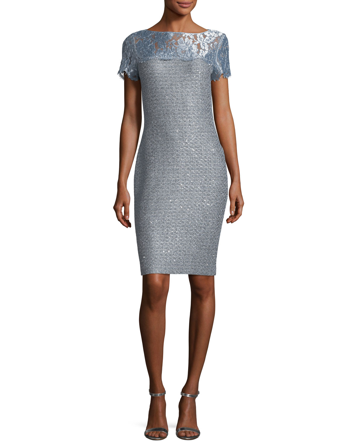 Metallic Sequined Knit Cocktail Sheath Dress