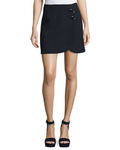 Mica Crepe Faux-Wrap Mini Skirt w/ Hardware