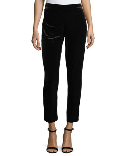 Straight-Leg Velvet Ankle Pants