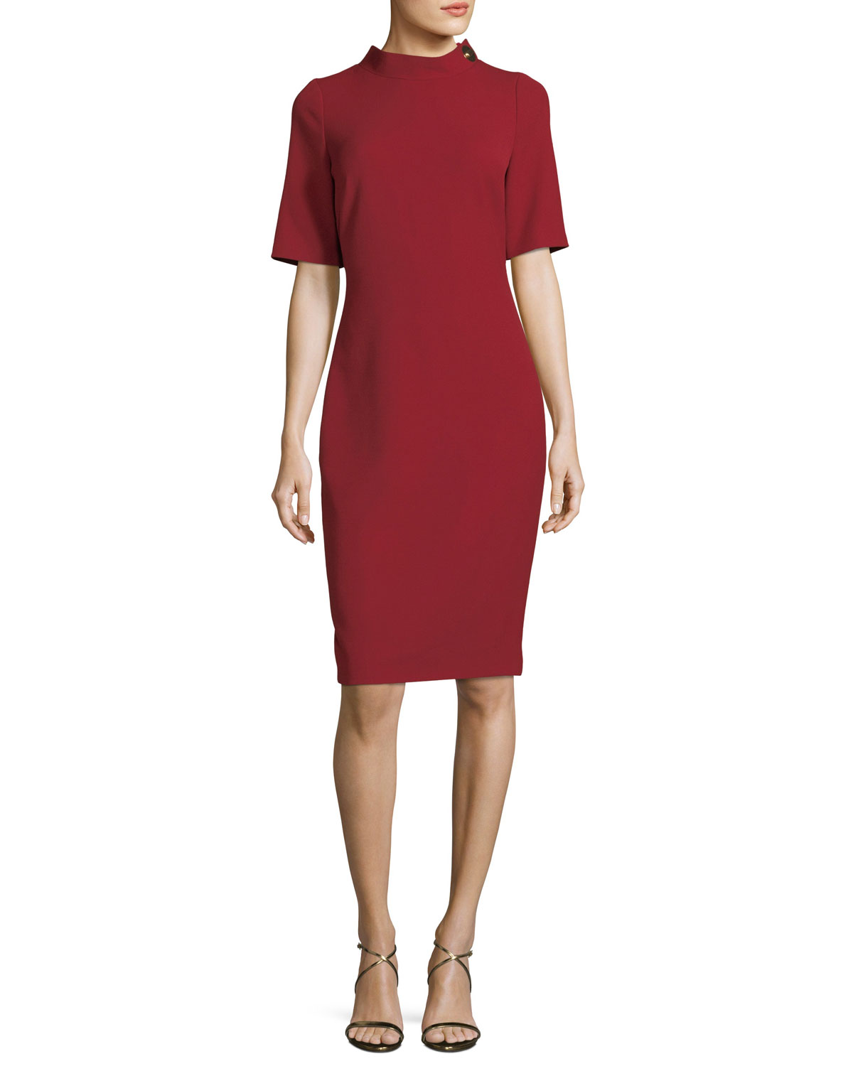 Turn-Lock Elbow-Sleeve Sheath Dress