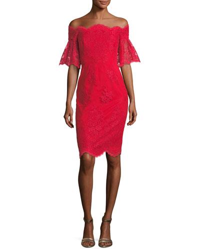 Lace Off-the-Shoulder Flutter-Sleeve Cocktail Dress
