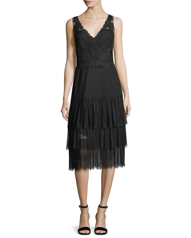 Abrianna V-Neck Sleeveless Lace Cocktail Dress