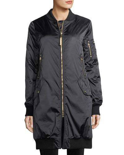 Celine Zip-Front Insulated Long Coat