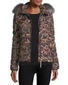Cyra Animal-Print Quilted Puffer Coat w/ Fur Trim
