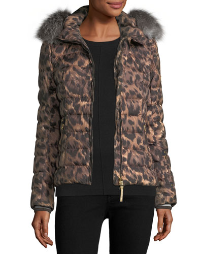 Cyra Animal-Print Quilted Puffer Coat w/ Fur Trim