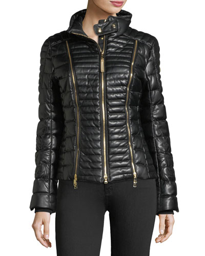 Carine Faux-Leather Quilted Puffer Coat w/ Zips