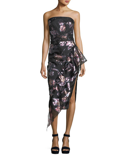 Sasha Strapless Floral-Metallic Organza Asymmetric Cocktail Dress