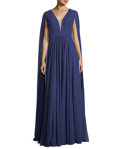 V-Neck Sheer Cape Evening Gown
