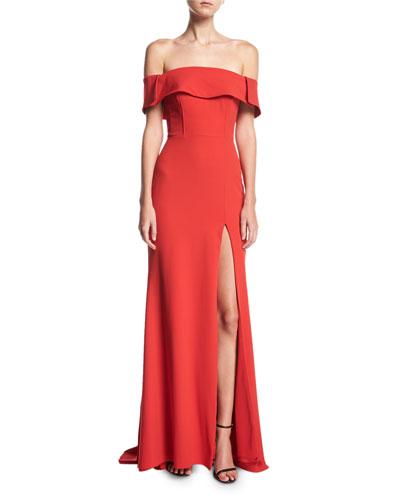 Off-the-Shoulder High-Slit Crepe Evening Gown