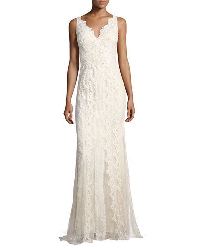 V-Neck Lace-Embroidered Dress w/ Tulle Inserts