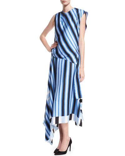 High-Neck Cap-Sleeve Bias-Cut Striped Satin Maxi Dress