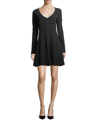 Long-Sleeve V-Neck Crepe A-Line Wrap Dress