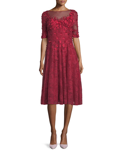 3/4-Sleeve 3-D Floral Lace Midi Cocktail Dress